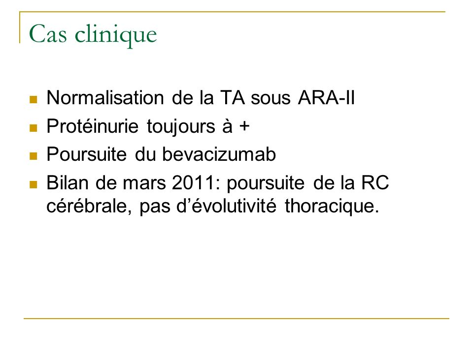 Cas clinique Normalisation de la TA sous ARA-II
