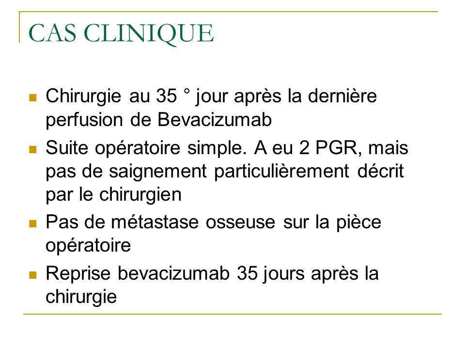 CAS CLINIQUE Chirurgie au 35 ° jour après la dernière perfusion de Bevacizumab.