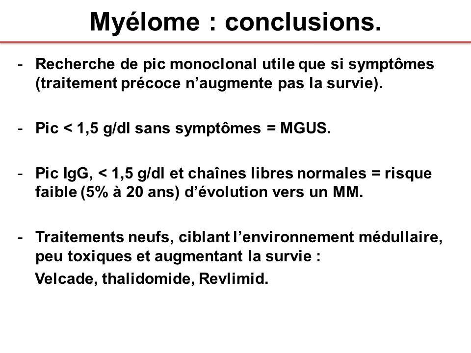 Myélome : conclusions. Recherche de pic monoclonal utile que si symptômes (traitement précoce n'augmente pas la survie).