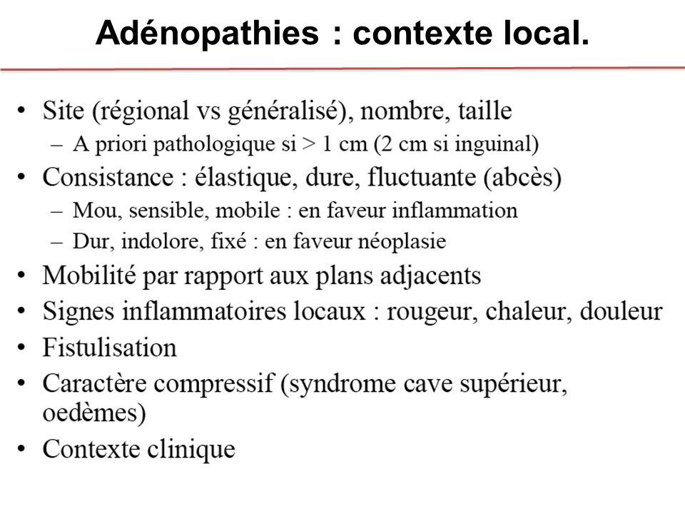 Adénopathies : contexte local.