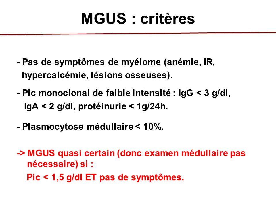 MGUS : critères - Pas de symptômes de myélome (anémie, IR,