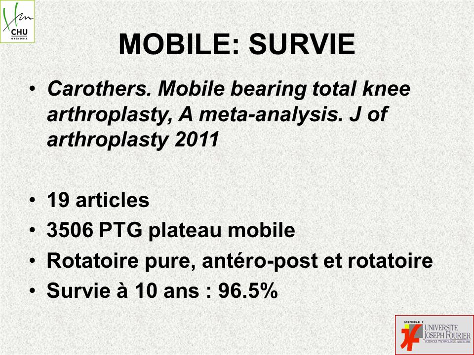 MOBILE: SURVIE Carothers. Mobile bearing total knee arthroplasty, A meta-analysis. J of arthroplasty 2011.
