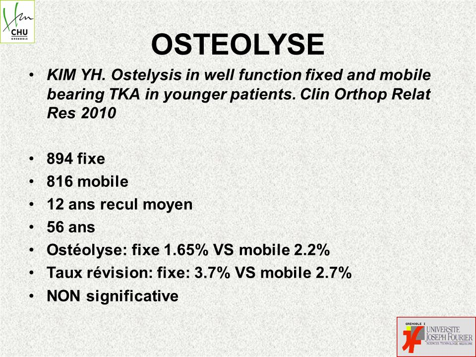 OSTEOLYSE KIM YH. Ostelysis in well function fixed and mobile bearing TKA in younger patients. Clin Orthop Relat Res 2010.