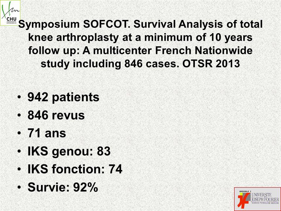 942 patients 846 revus 71 ans IKS genou: 83 IKS fonction: 74