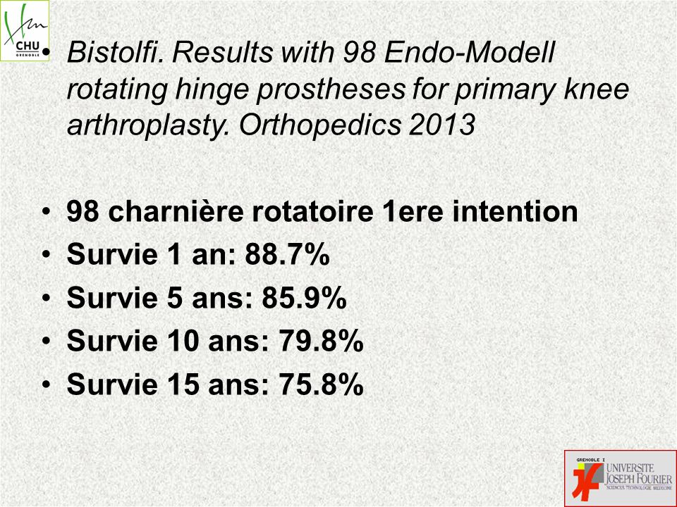 Bistolfi. Results with 98 Endo-Modell rotating hinge prostheses for primary knee arthroplasty. Orthopedics 2013