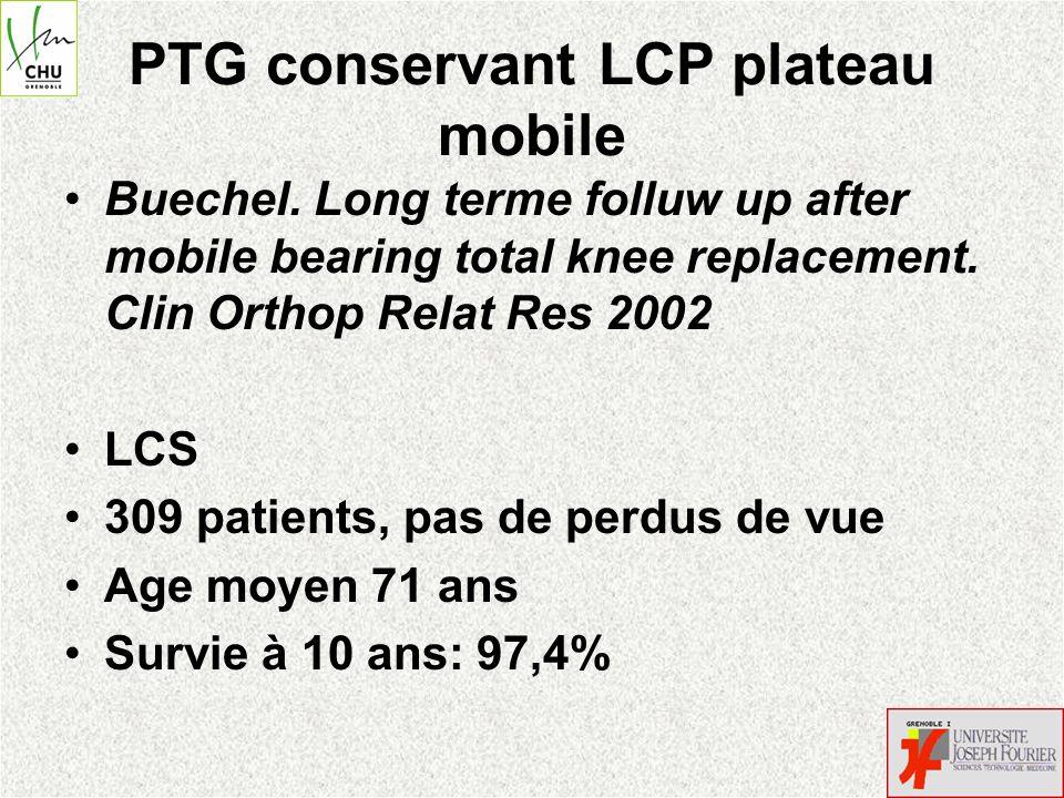 PTG conservant LCP plateau mobile