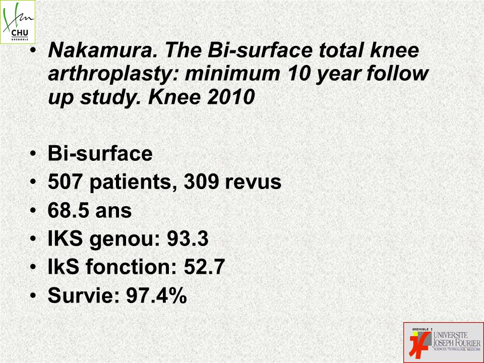 Nakamura. The Bi-surface total knee arthroplasty: minimum 10 year follow up study. Knee 2010