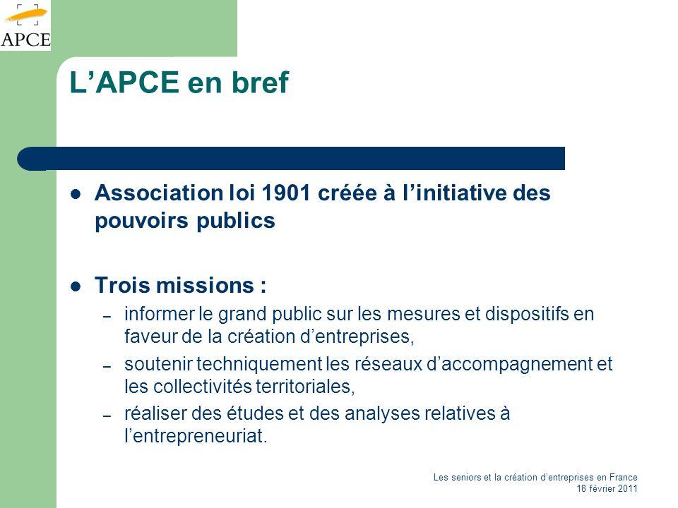 L'APCE en bref Association loi 1901 créée à l'initiative des pouvoirs publics. Trois missions :