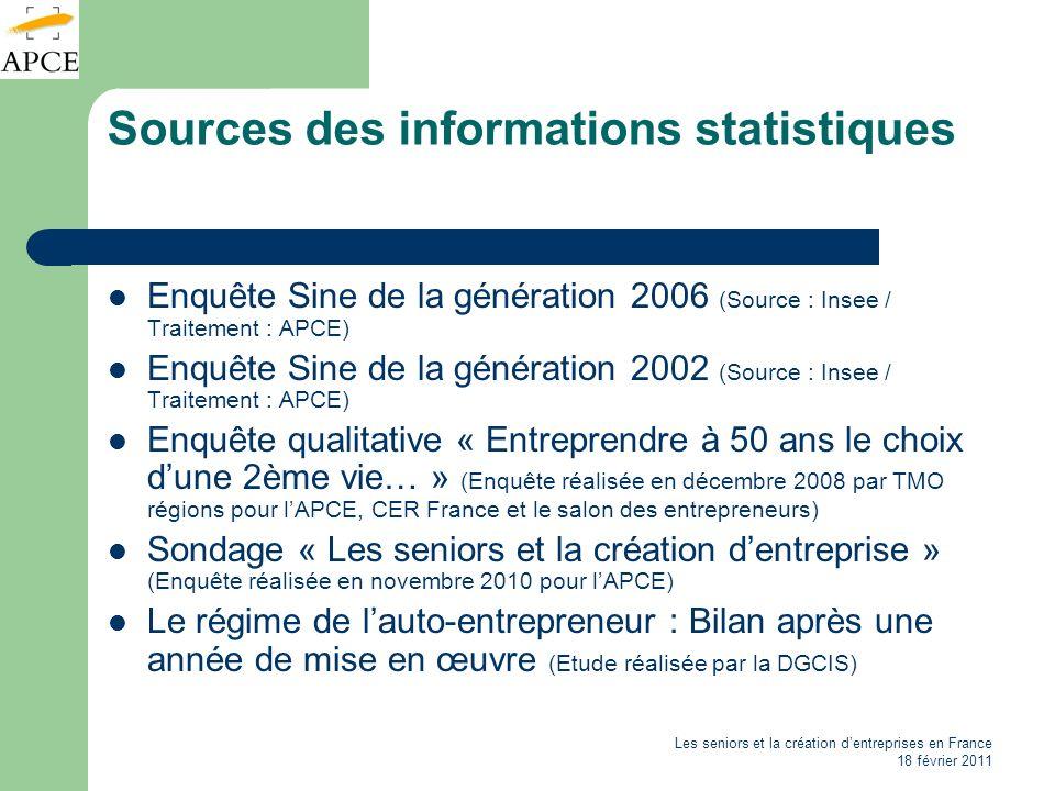 Sources des informations statistiques