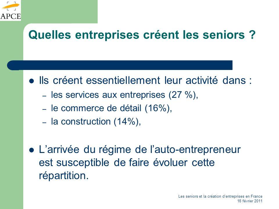 Quelles entreprises créent les seniors