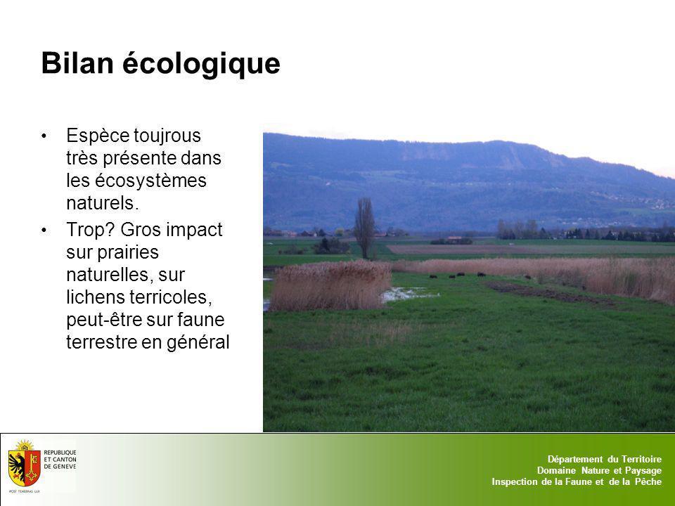 Bilan écologique Espèce toujrous très présente dans les écosystèmes naturels.