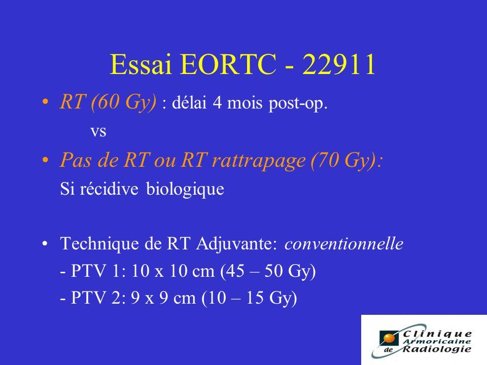 Essai EORTC - 22911 RT (60 Gy) : délai 4 mois post-op.