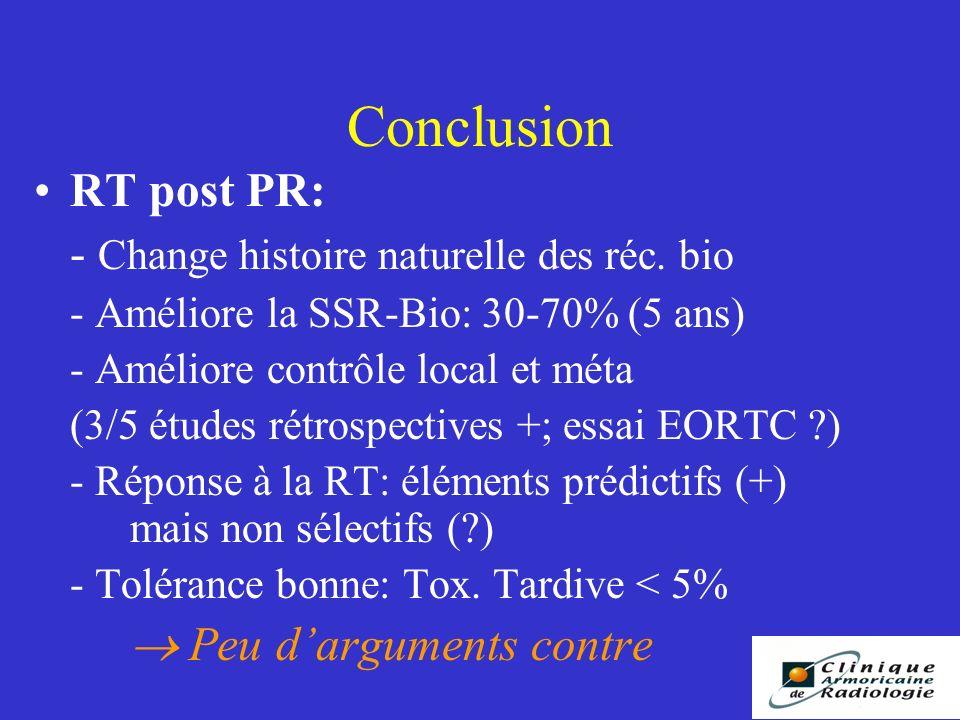 Conclusion RT post PR: - Change histoire naturelle des réc. bio