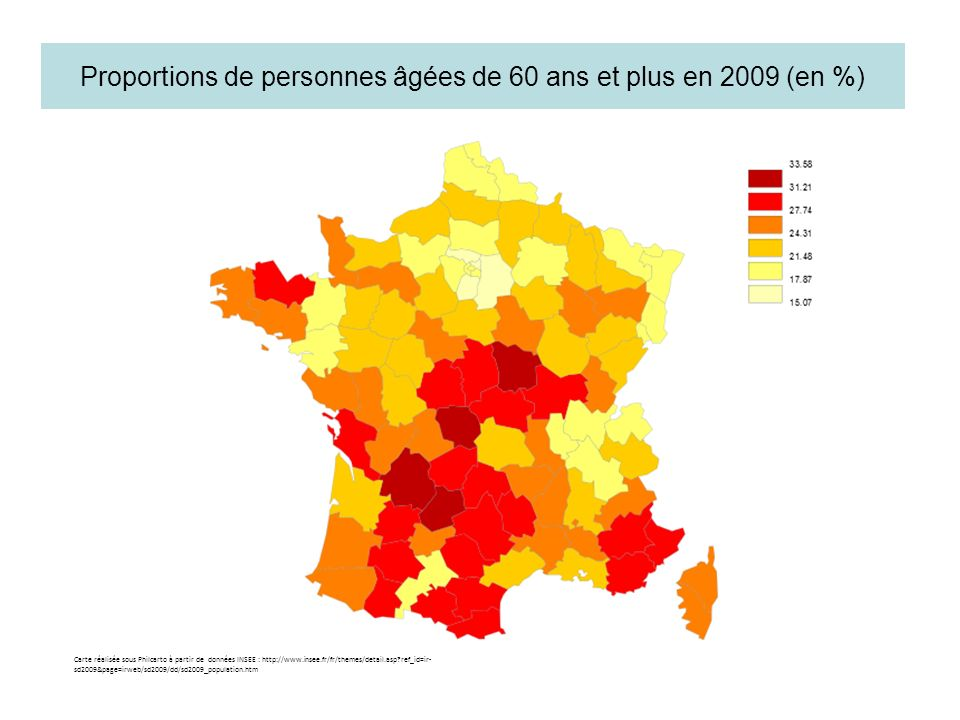 Proportions de personnes âgées de 60 ans et plus en 2009 (en %)