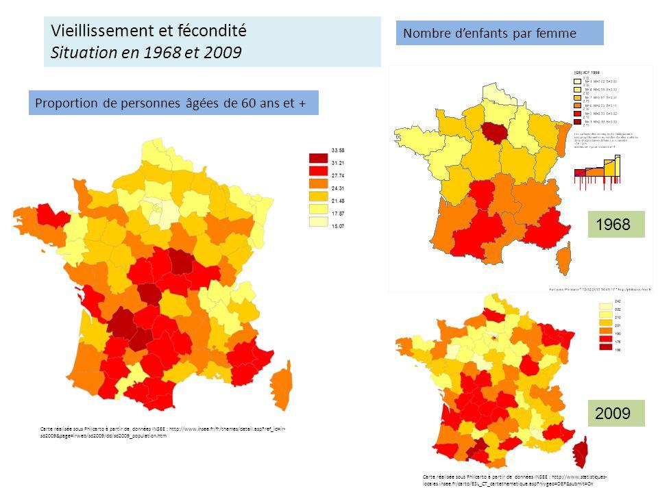 Vieillissement et fécondité Situation en 1968 et 2009
