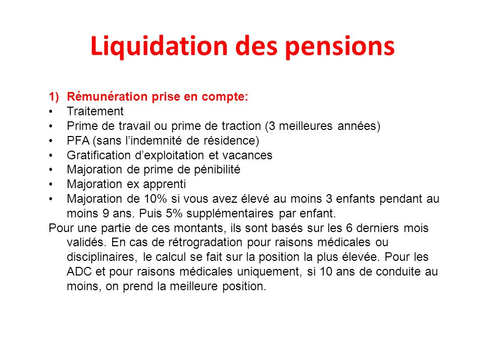 Liquidation des pensions