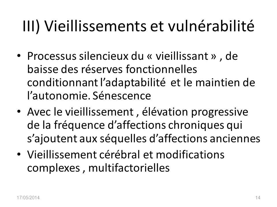 III) Vieillissements et vulnérabilité