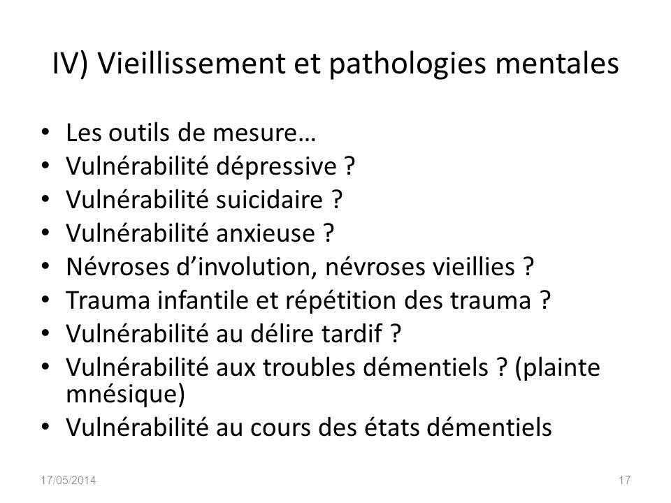IV) Vieillissement et pathologies mentales