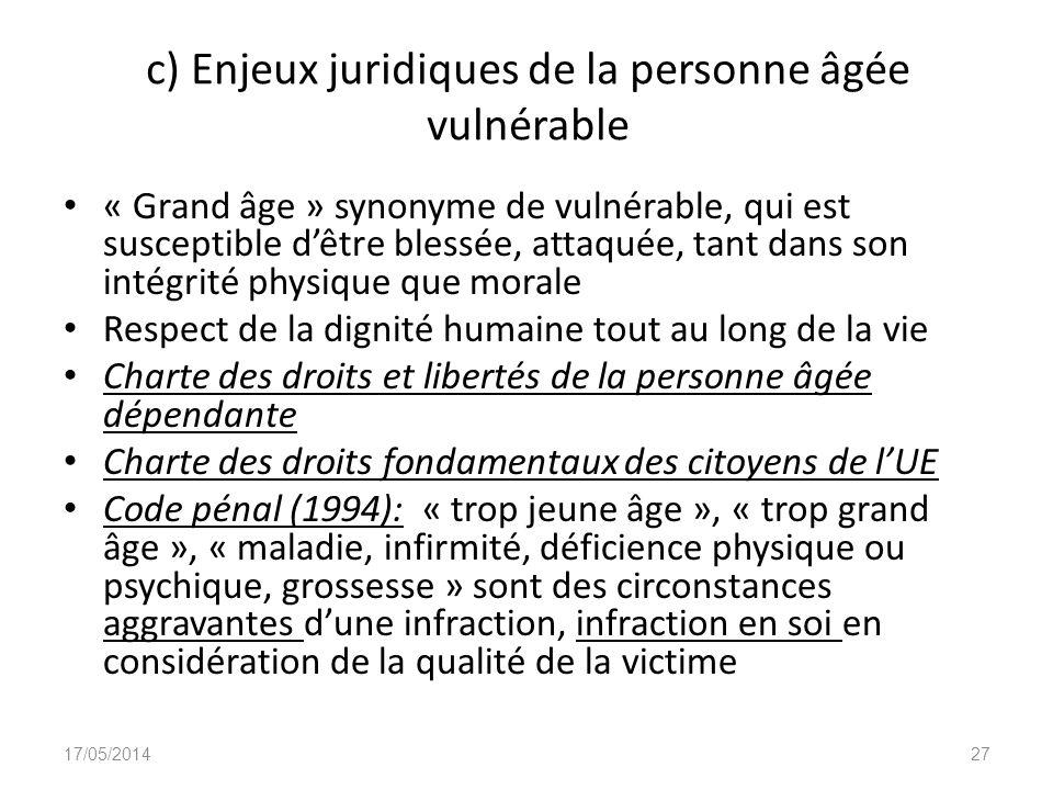 c) Enjeux juridiques de la personne âgée vulnérable