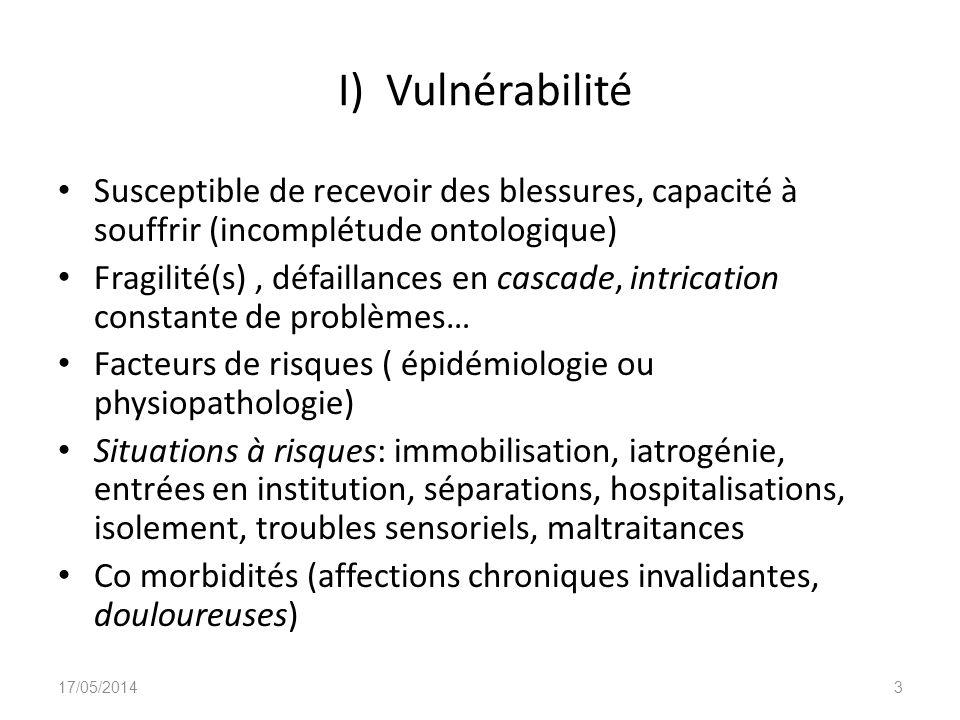 I) Vulnérabilité Susceptible de recevoir des blessures, capacité à souffrir (incomplétude ontologique)