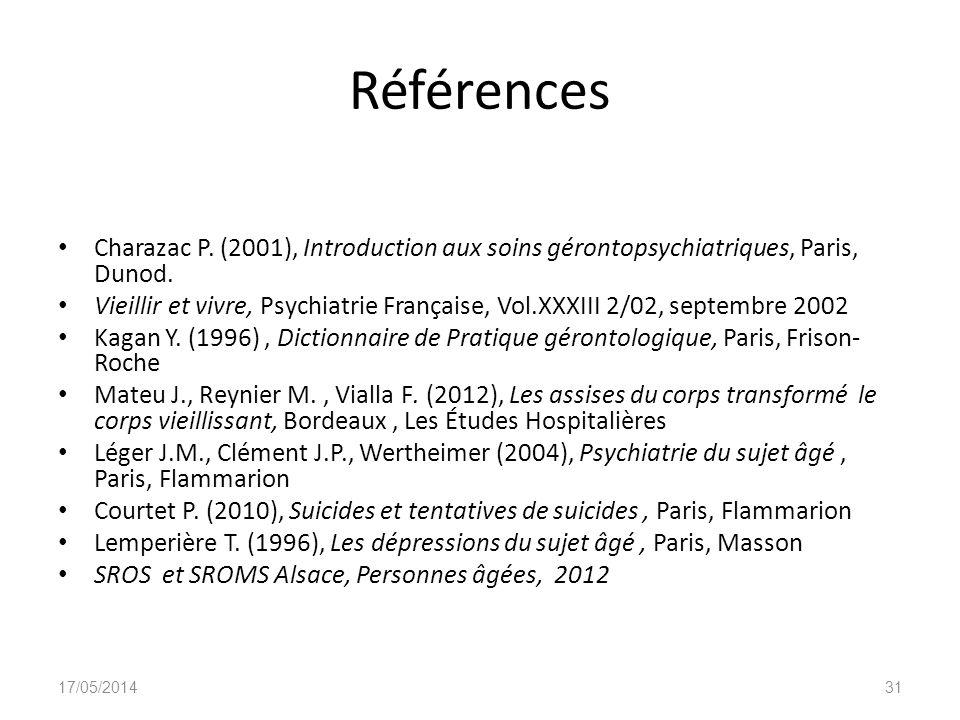 Références Charazac P. (2001), Introduction aux soins gérontopsychiatriques, Paris, Dunod.
