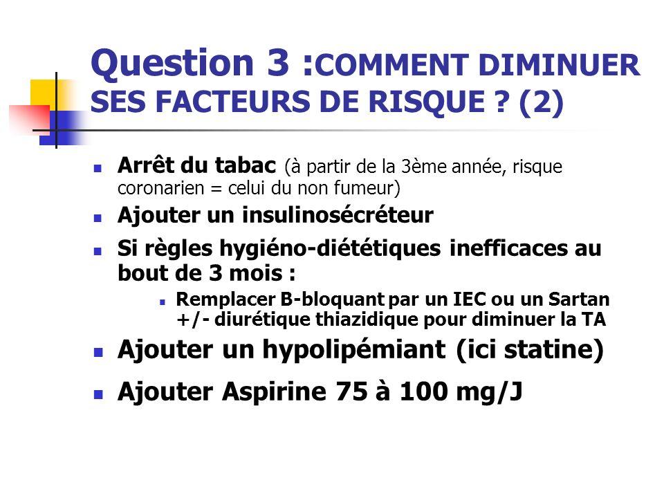 Question 3 :COMMENT DIMINUER SES FACTEURS DE RISQUE (2)