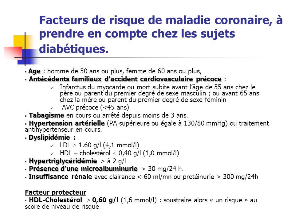 Facteurs de risque de maladie coronaire, à prendre en compte chez les sujets diabétiques.