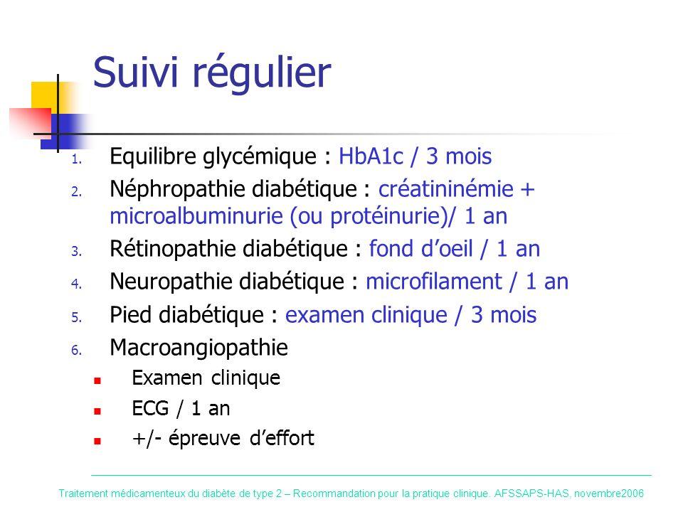 Suivi régulier Equilibre glycémique : HbA1c / 3 mois