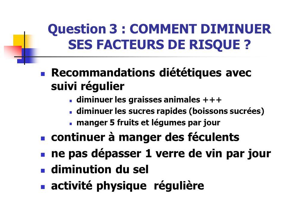 Question 3 : COMMENT DIMINUER SES FACTEURS DE RISQUE