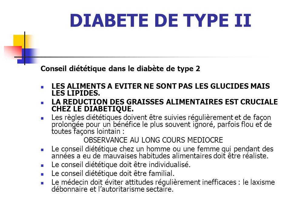 DIABETE DE TYPE II Conseil diététique dans le diabète de type 2