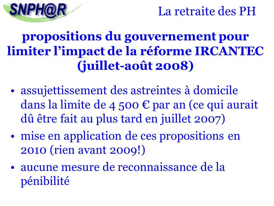 La retraite des PH propositions du gouvernement pour limiter l'impact de la réforme IRCANTEC (juillet-août 2008)