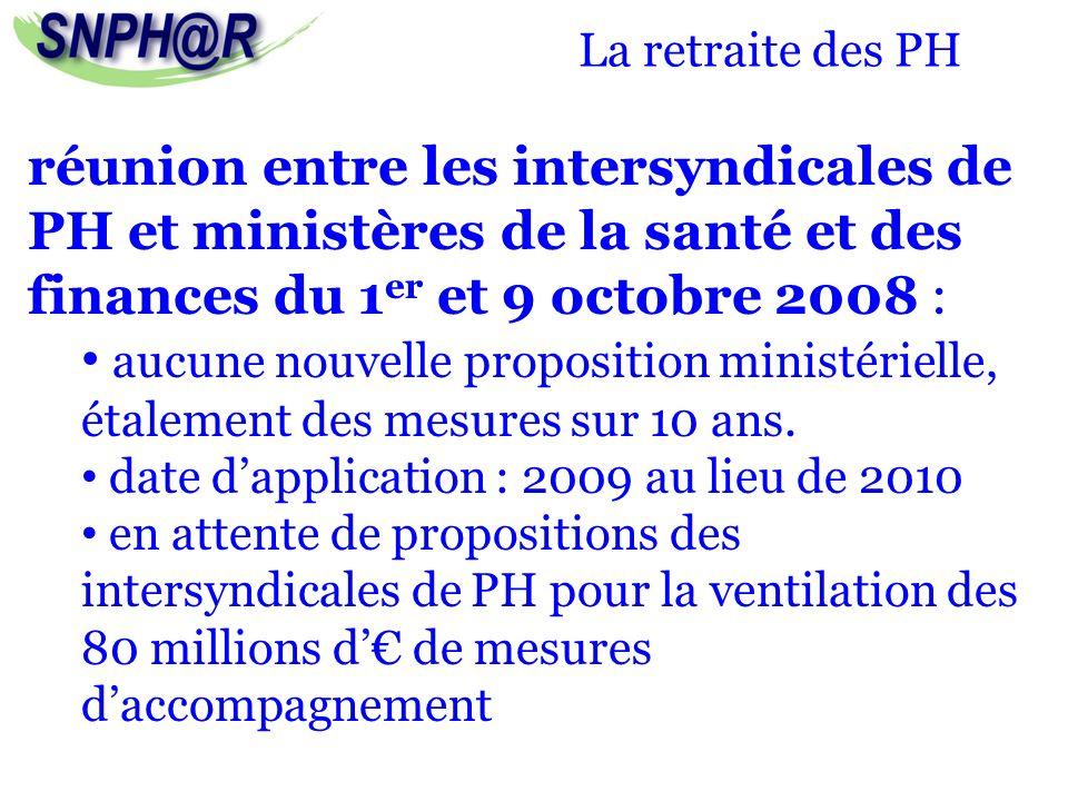 La retraite des PH réunion entre les intersyndicales de PH et ministères de la santé et des finances du 1er et 9 octobre 2008 :