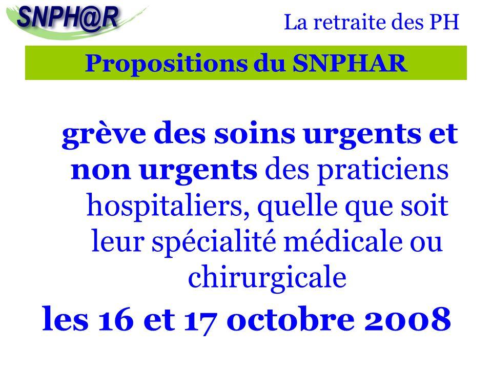 Propositions du SNPHAR grève des soins urgents et