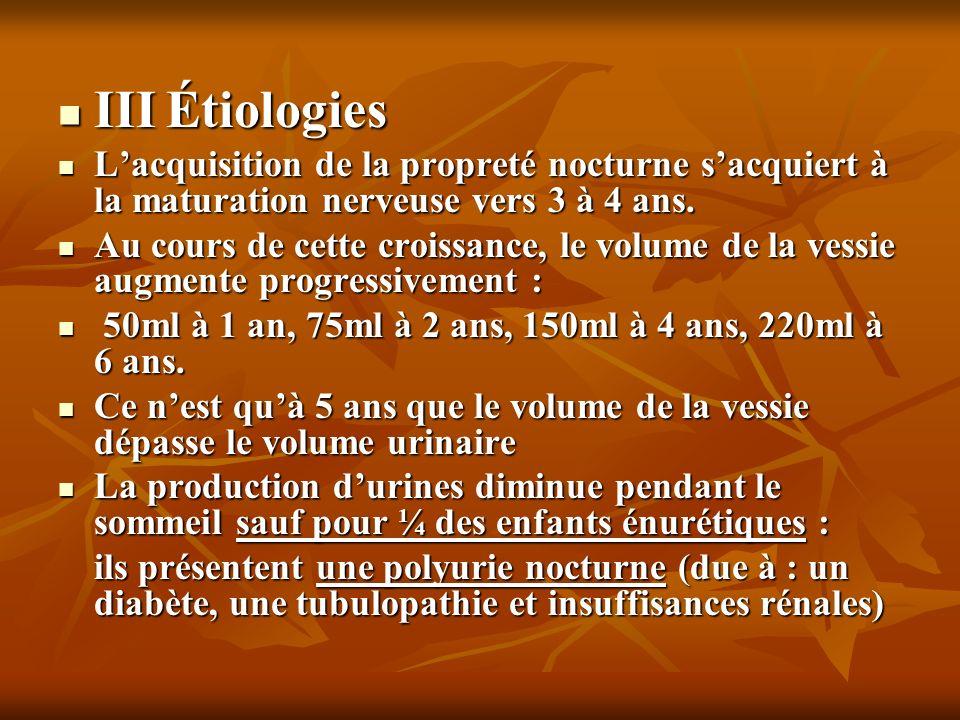 III Étiologies L'acquisition de la propreté nocturne s'acquiert à la maturation nerveuse vers 3 à 4 ans.