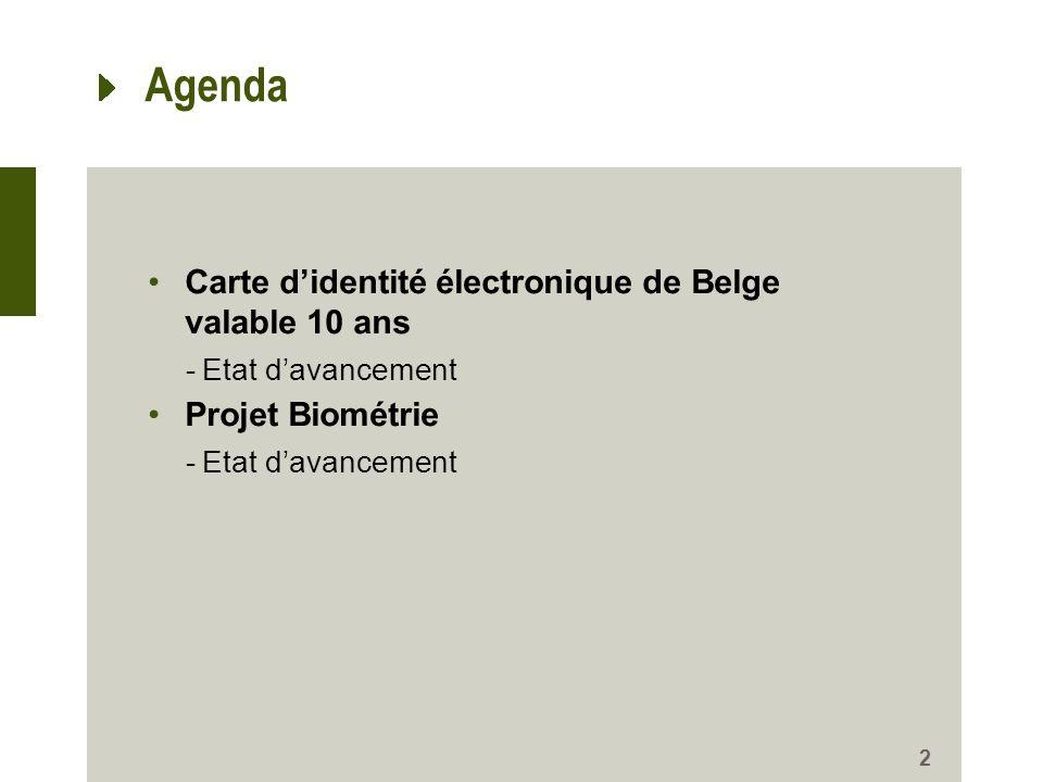 Agenda Carte d'identité électronique de Belge valable 10 ans