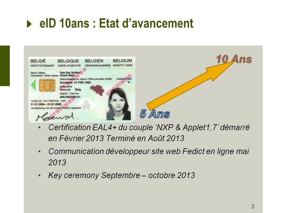 eID 10ans : Etat d'avancement
