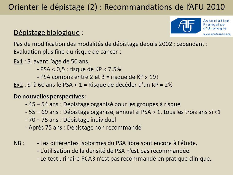 Orienter le dépistage (2) : Recommandations de l'AFU 2010