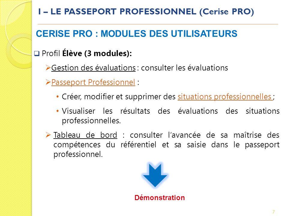 I – LE PASSEPORT PROFESSIONNEL (Cerise PRO)