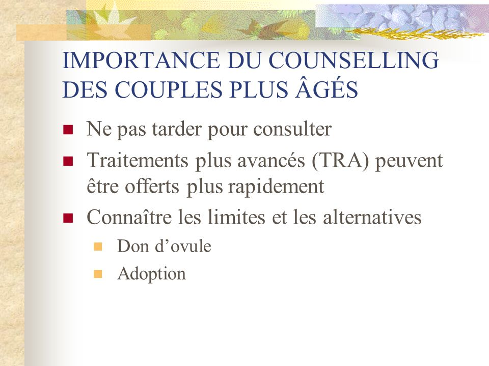 IMPORTANCE DU COUNSELLING DES COUPLES PLUS ÂGÉS