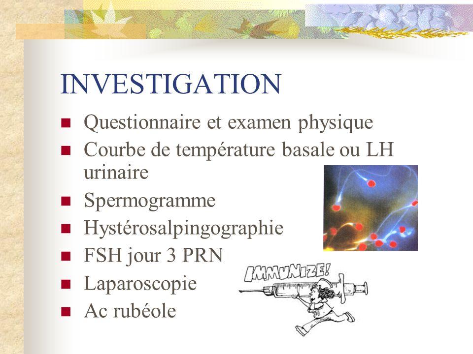 INVESTIGATION Questionnaire et examen physique