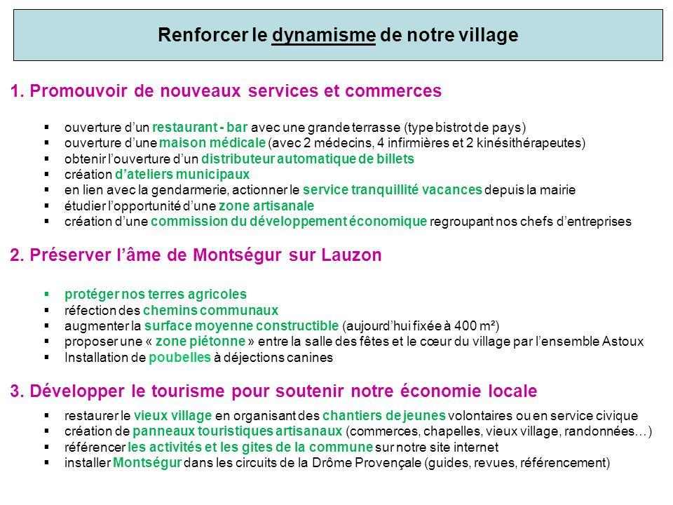 Renforcer le dynamisme de notre village