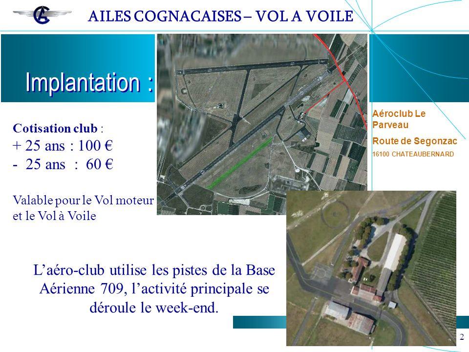 Implantation : Aéroclub Le Parveau. Route de Segonzac. 16100 CHATEAUBERNARD. Cotisation club : + 25 ans : 100 €
