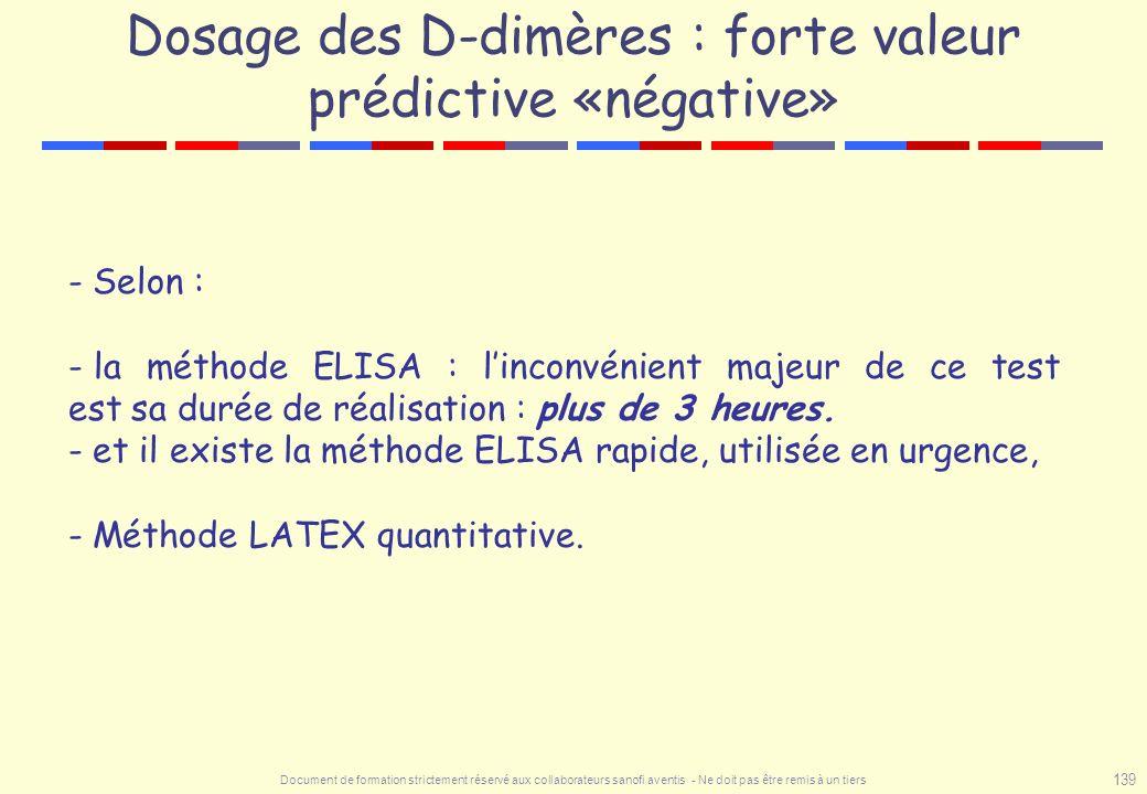 Dosage des D-dimères : forte valeur prédictive «négative»