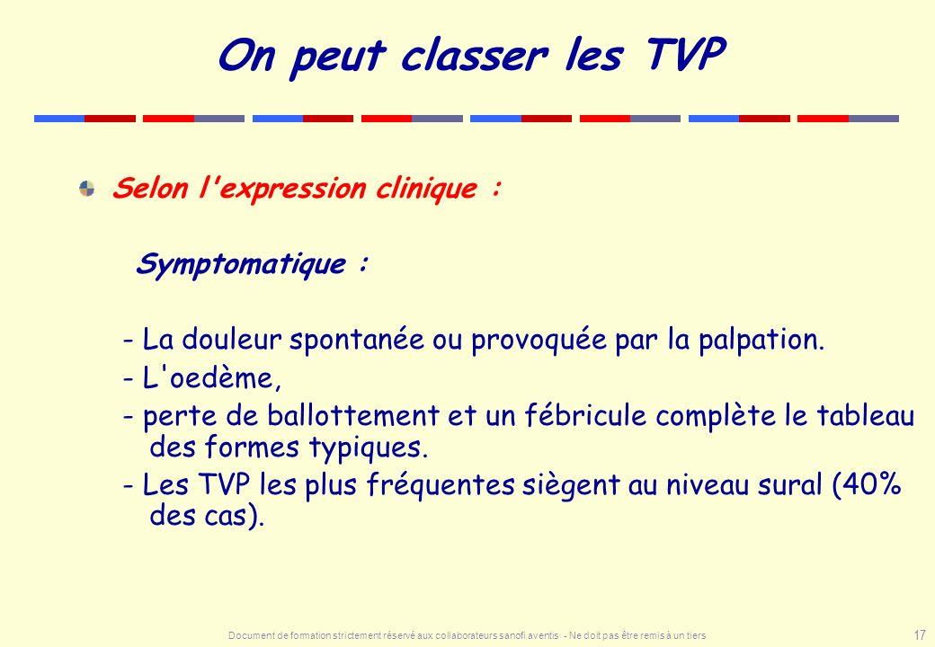 On peut classer les TVP Selon l expression clinique : Symptomatique :
