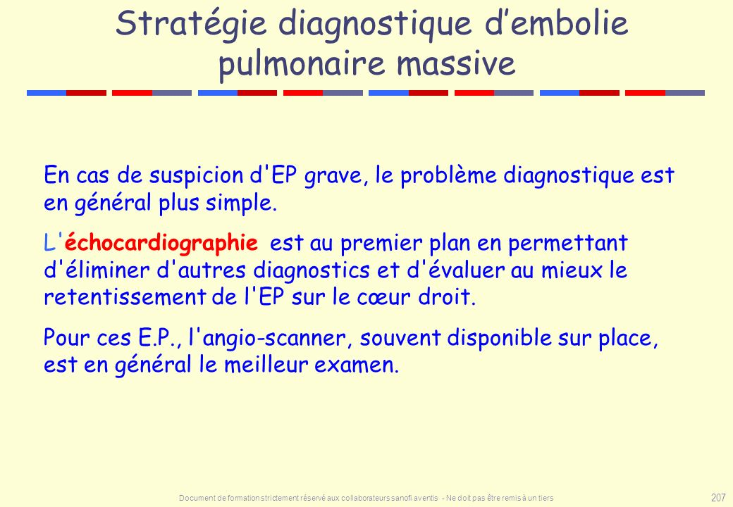 Stratégie diagnostique d'embolie pulmonaire massive