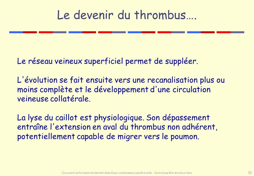 Le devenir du thrombus….