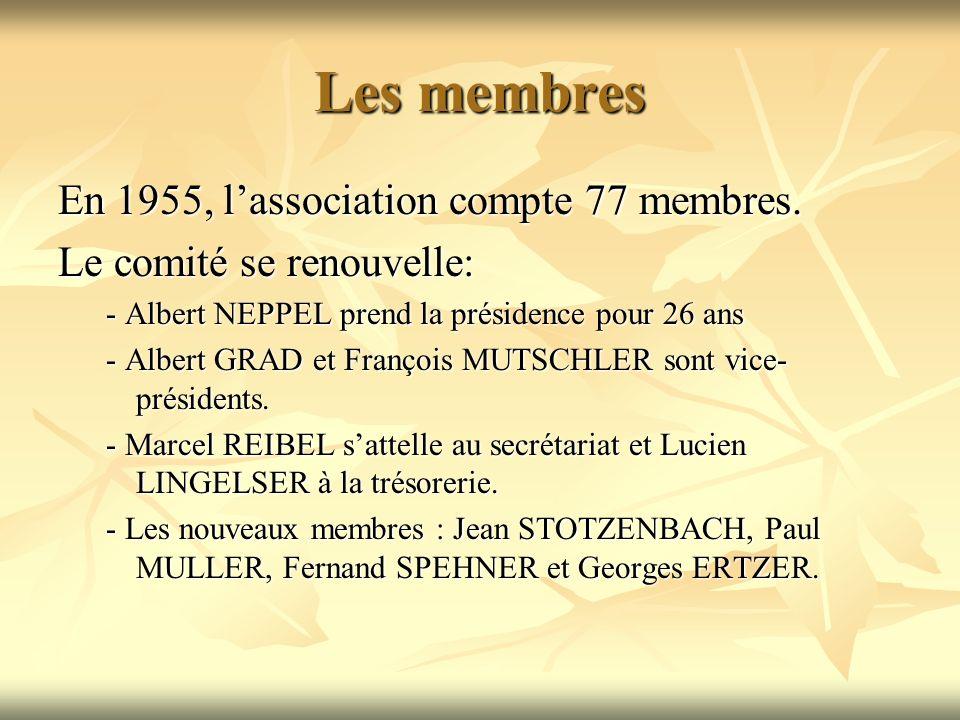 Les membres En 1955, l'association compte 77 membres.