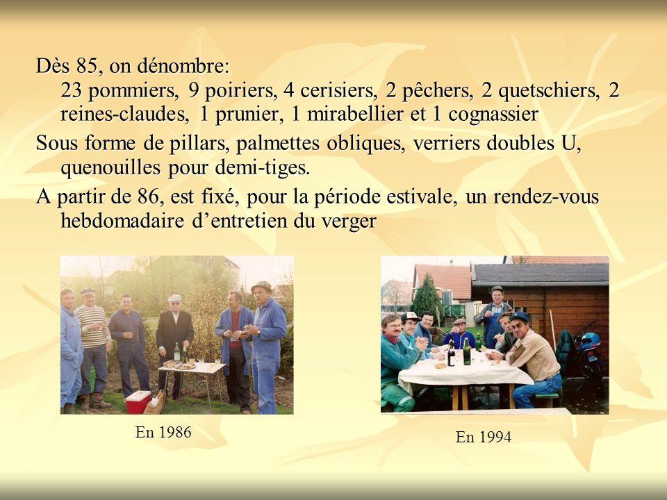 Dès 85, on dénombre: 23 pommiers, 9 poiriers, 4 cerisiers, 2 pêchers, 2 quetschiers, 2 reines-claudes, 1 prunier, 1 mirabellier et 1 cognassier