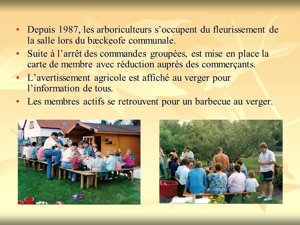 Depuis 1987, les arboriculteurs s'occupent du fleurissement de la salle lors du bæckeofe communale.