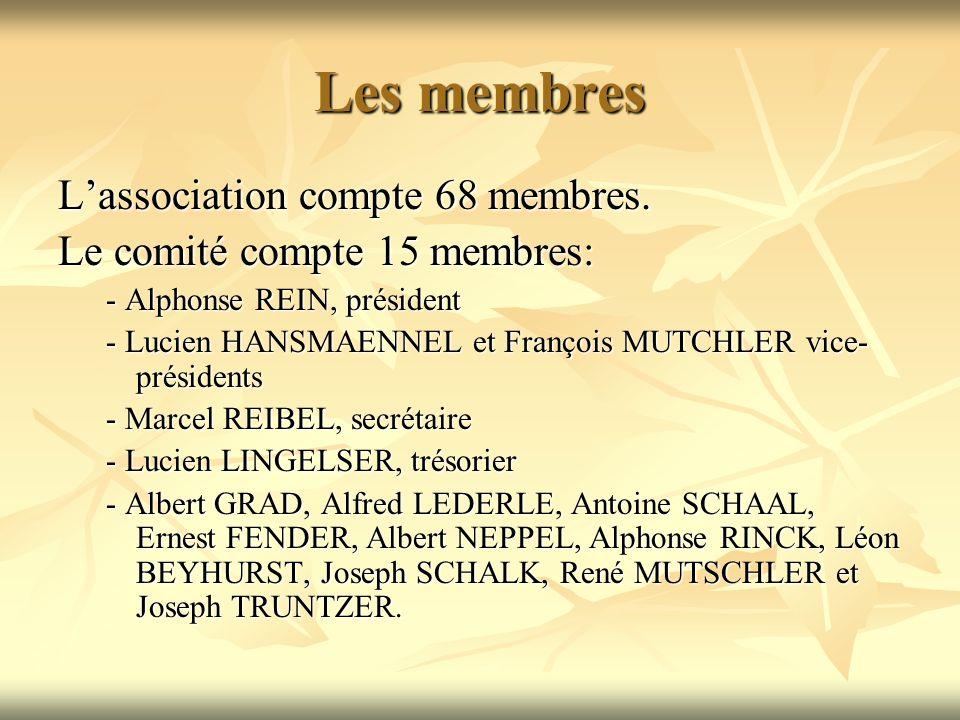 Les membres L'association compte 68 membres.